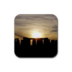 Sunset Stonehenge Rubber Coaster (square)  by trendistuff