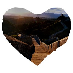 Great Wall Of China 2 Large 19  Premium Heart Shape Cushions by trendistuff