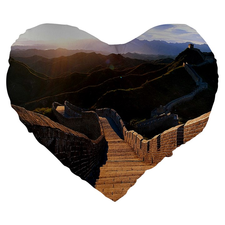 GREAT WALL OF CHINA 2 Large 19  Premium Heart Shape Cushions