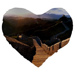 Great Wall Of China 2 Large 19  Premium Flano Heart Shape Cushions by trendistuff