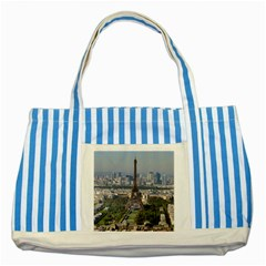 Eiffel Tower 2 Striped Blue Tote Bag  by trendistuff