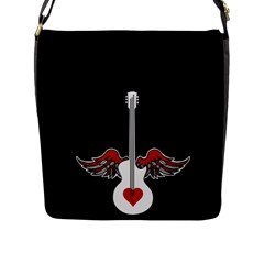 Flying Heart Guitar Flap Closure Messenger Bag (l)