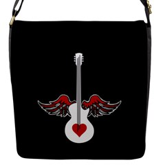 Flying Heart Guitar Flap Closure Messenger Bag (s) by waywardmuse