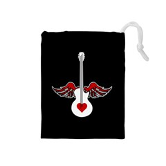 Flying Heart Guitar Drawstring Pouch (medium)