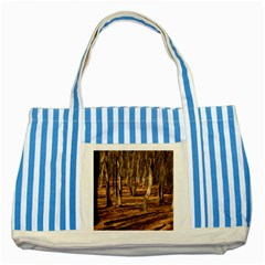 WOOD SHADOWS Striped Blue Tote Bag  by trendistuff