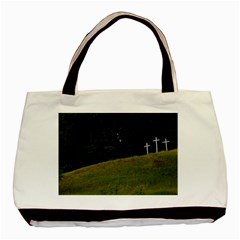 Three Crosses On A Hill Basic Tote Bag (two Sides)  by trendistuff