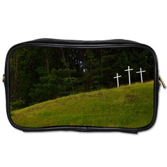 Three Crosses On A Hill Toiletries Bags by trendistuff