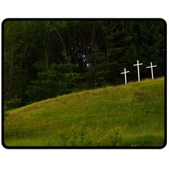 Three Crosses On A Hill Double Sided Fleece Blanket (medium)