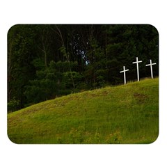 Three Crosses On A Hill Double Sided Flano Blanket (large)  by trendistuff