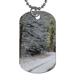Snow On Road Dog Tag (one Side) by trendistuff