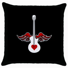 Flying Heart Guitar Throw Pillow Case (black) by waywardmuse