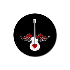 Flying Heart Guitar Rubber Round Coaster (4 Pack) by waywardmuse