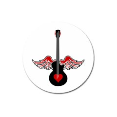 Flying Heart Guitar Magnet 3  (round) by waywardmuse