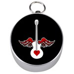 Flying Heart Guitar Silver Compass