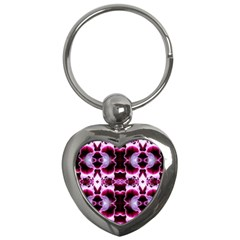 White Burgundy Flower Abstract Key Chains (heart)  by Costasonlineshop