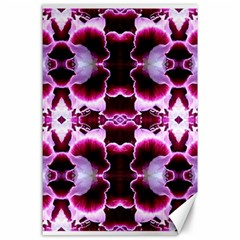 White Burgundy Flower Abstract Canvas 24  X 36