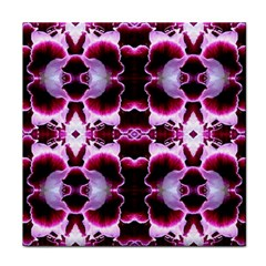 White Burgundy Flower Abstract Face Towel