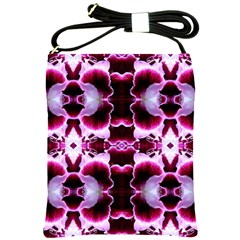 White Burgundy Flower Abstract Shoulder Sling Bags by Costasonlineshop