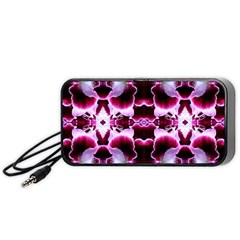 White Burgundy Flower Abstract Portable Speaker (black)  by Costasonlineshop