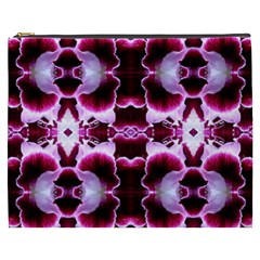 White Burgundy Flower Abstract Cosmetic Bag (xxxl)