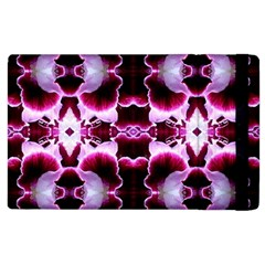 White Burgundy Flower Abstract Apple Ipad 2 Flip Case by Costasonlineshop
