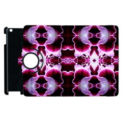 White Burgundy Flower Abstract Apple Ipad 2 Flip 360 Case by Costasonlineshop