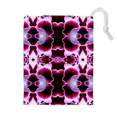 White Burgundy Flower Abstract Drawstring Pouches (extra Large)