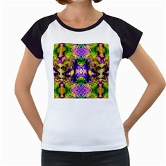 Green,purple Yellow ,goa Pattern Women s Cap Sleeve T