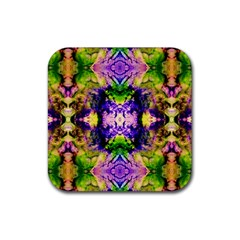 Green,purple Yellow ,goa Pattern Rubber Coaster (square)  by Costasonlineshop