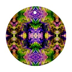 Green,purple Yellow ,goa Pattern Round Ornament (two Sides)  by Costasonlineshop