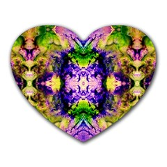 Green,purple Yellow ,goa Pattern Heart Mousepads by Costasonlineshop