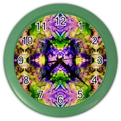 Green,purple Yellow ,goa Pattern Color Wall Clocks by Costasonlineshop