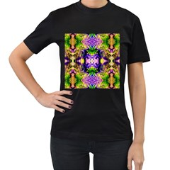 Green,purple Yellow ,goa Pattern Women s T Shirt (black)