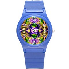 Green,purple Yellow ,goa Pattern Round Plastic Sport Watch (s) by Costasonlineshop