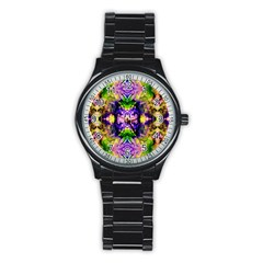 Green,purple Yellow ,goa Pattern Stainless Steel Round Watches by Costasonlineshop