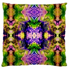 Green,purple Yellow ,goa Pattern Large Flano Cushion Cases (two Sides)  by Costasonlineshop