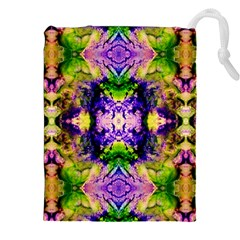 Green,purple Yellow ,goa Pattern Drawstring Pouches (xxl) by Costasonlineshop
