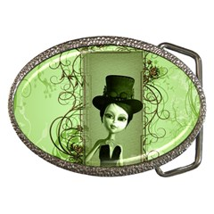 Cute Girl With Steampunk Hat And Floral Elements Belt Buckles by FantasyWorld7