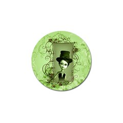 Cute Girl With Steampunk Hat And Floral Elements Golf Ball Marker by FantasyWorld7