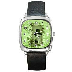 Cute Girl With Steampunk Hat And Floral Elements Square Metal Watches by FantasyWorld7