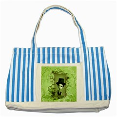 Cute Girl With Steampunk Hat And Floral Elements Striped Blue Tote Bag  by FantasyWorld7