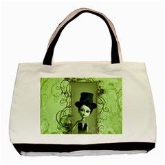 Cute Girl With Steampunk Hat And Floral Elements Basic Tote Bag (two Sides)  by FantasyWorld7