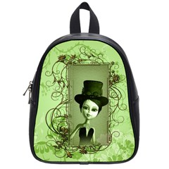 Cute Girl With Steampunk Hat And Floral Elements School Bags (small)  by FantasyWorld7