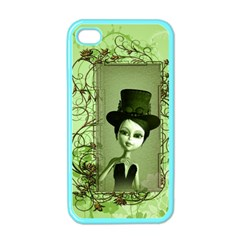 Cute Girl With Steampunk Hat And Floral Elements Apple Iphone 4 Case (color) by FantasyWorld7