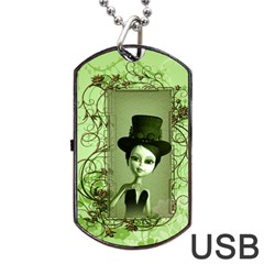 Cute Girl With Steampunk Hat And Floral Elements Dog Tag Usb Flash (one Side) by FantasyWorld7