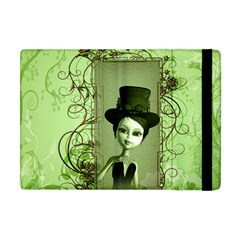 Cute Girl With Steampunk Hat And Floral Elements Apple Ipad Mini Flip Case by FantasyWorld7