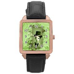 Cute Girl With Steampunk Hat And Floral Elements Rose Gold Watches by FantasyWorld7