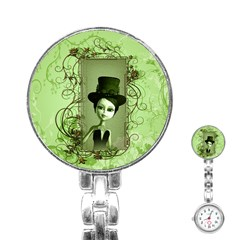 Cute Girl With Steampunk Hat And Floral Elements Stainless Steel Nurses Watches by FantasyWorld7