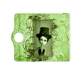 Cute Girl With Steampunk Hat And Floral Elements Kindle Fire Hdx 8 9  Flip 360 Case by FantasyWorld7