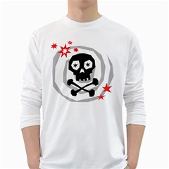 Spiral Skull White Long Sleeve T Shirts